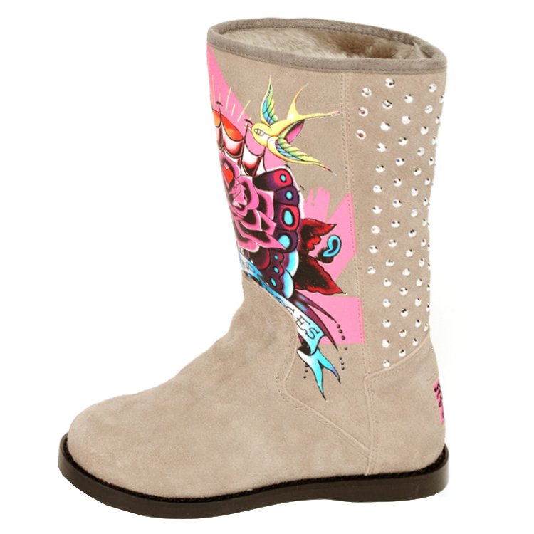 Ed Hardy Bootstrap Boots for Kids Girls- Grey