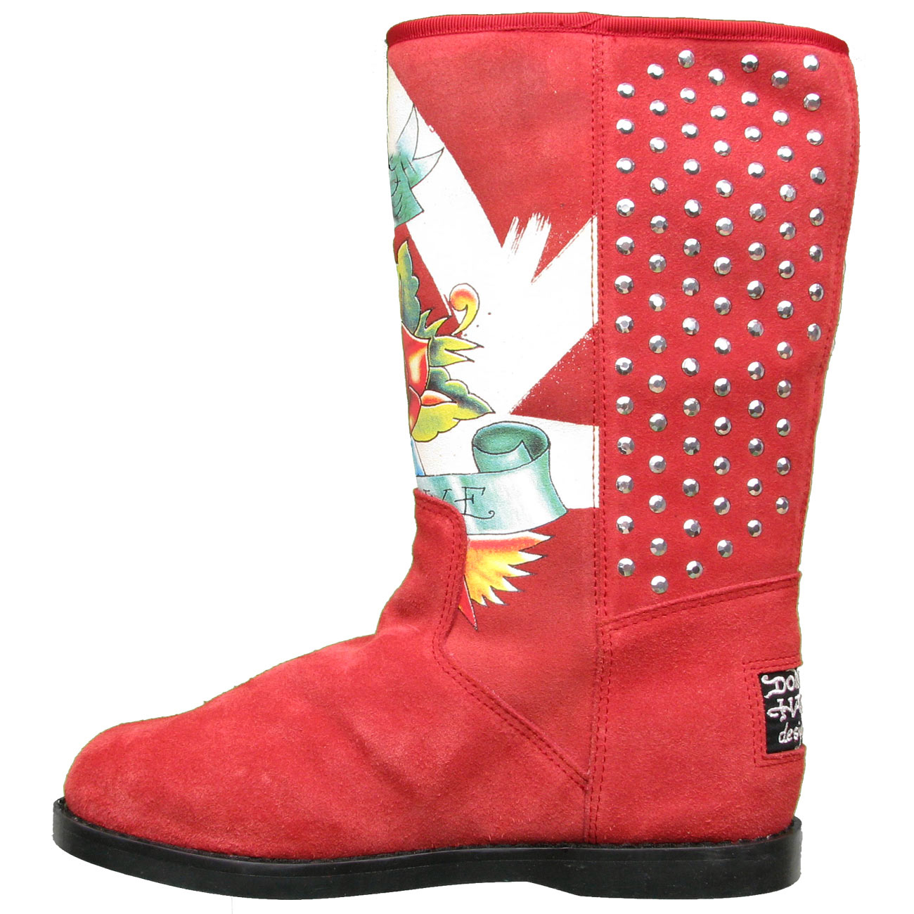 Ed Hardy Bootstrap Boots for Kids Girls- Burgundy