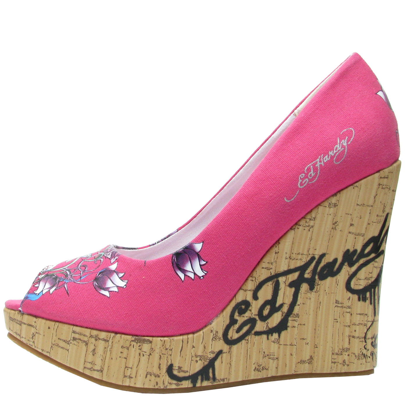Ed Hardy Womens Casablanca Wedge Shoe - Fuschia