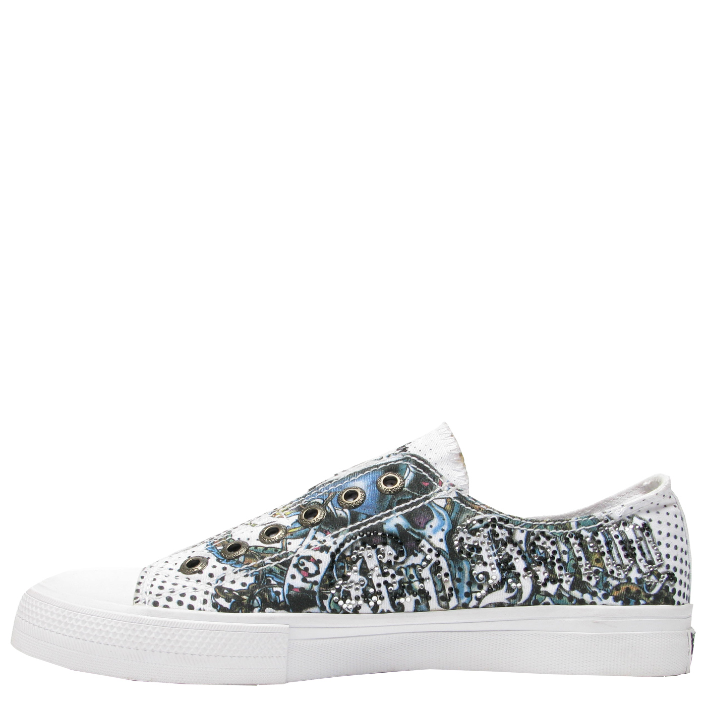 Ed Hardy Lowrise Rhinestone Shoe for Women - White
