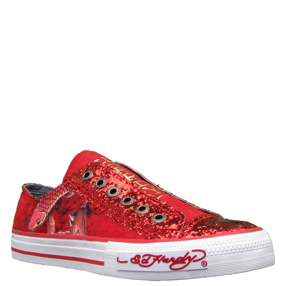 Ed Hardy Lowrise Glitter Shoe for Women -Red