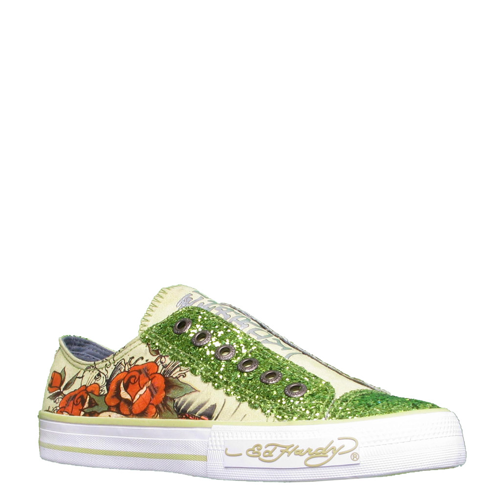 Ed Hardy Lowrise Glitter Shoe for Women -Light Green