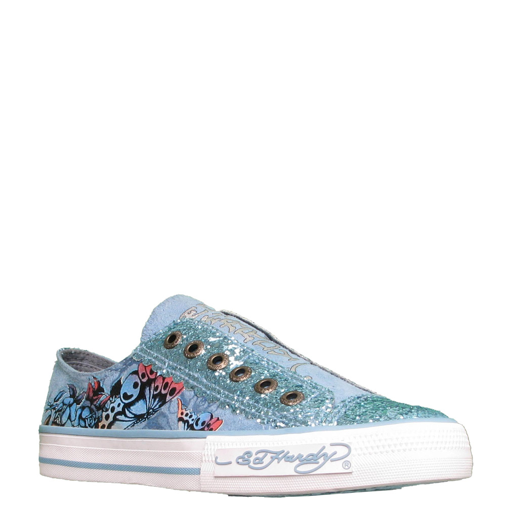 Ed Hardy Lowrise Glitter Shoe for Women -Light Blue