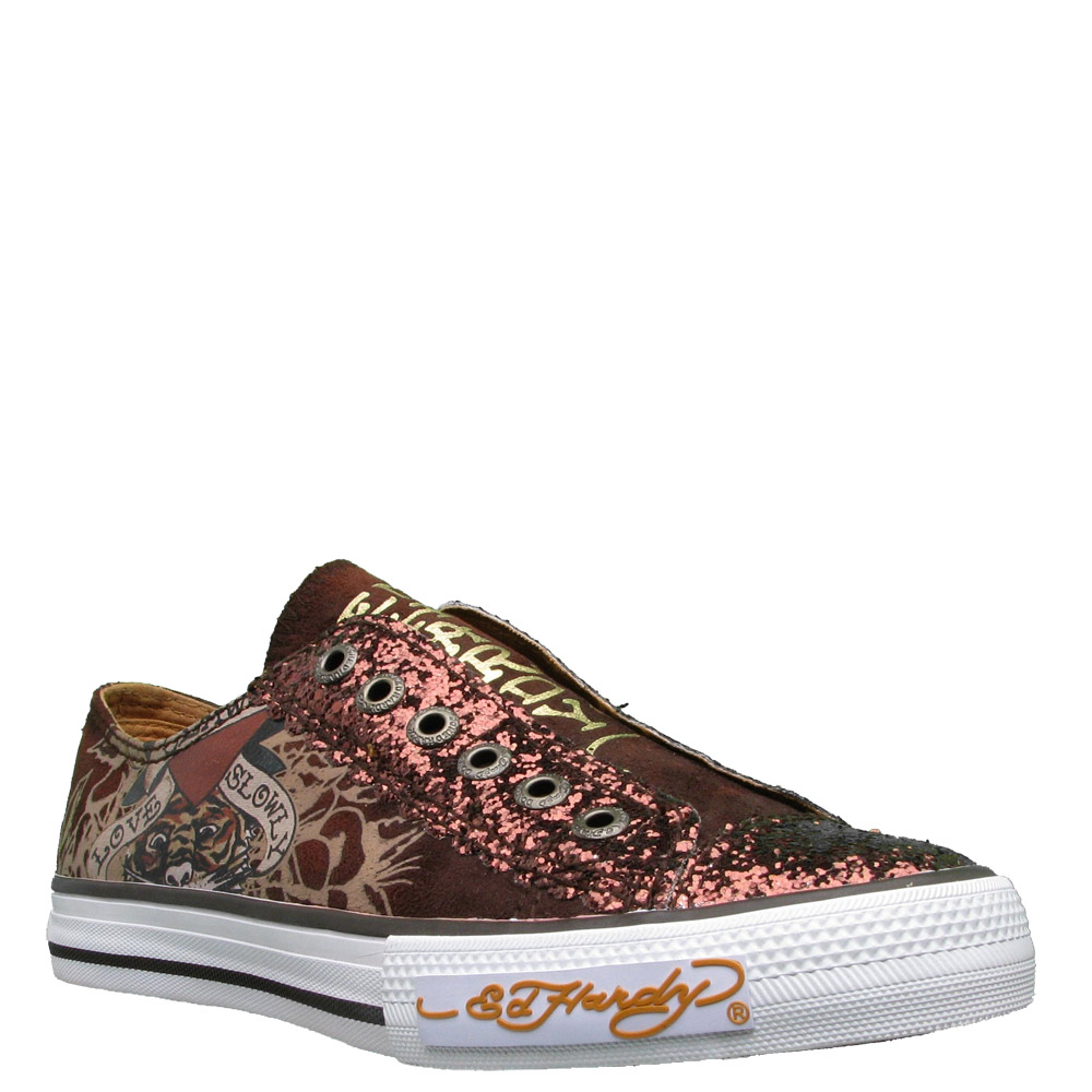 Ed Hardy Lowrise Glitter Shoe for Women -Brown