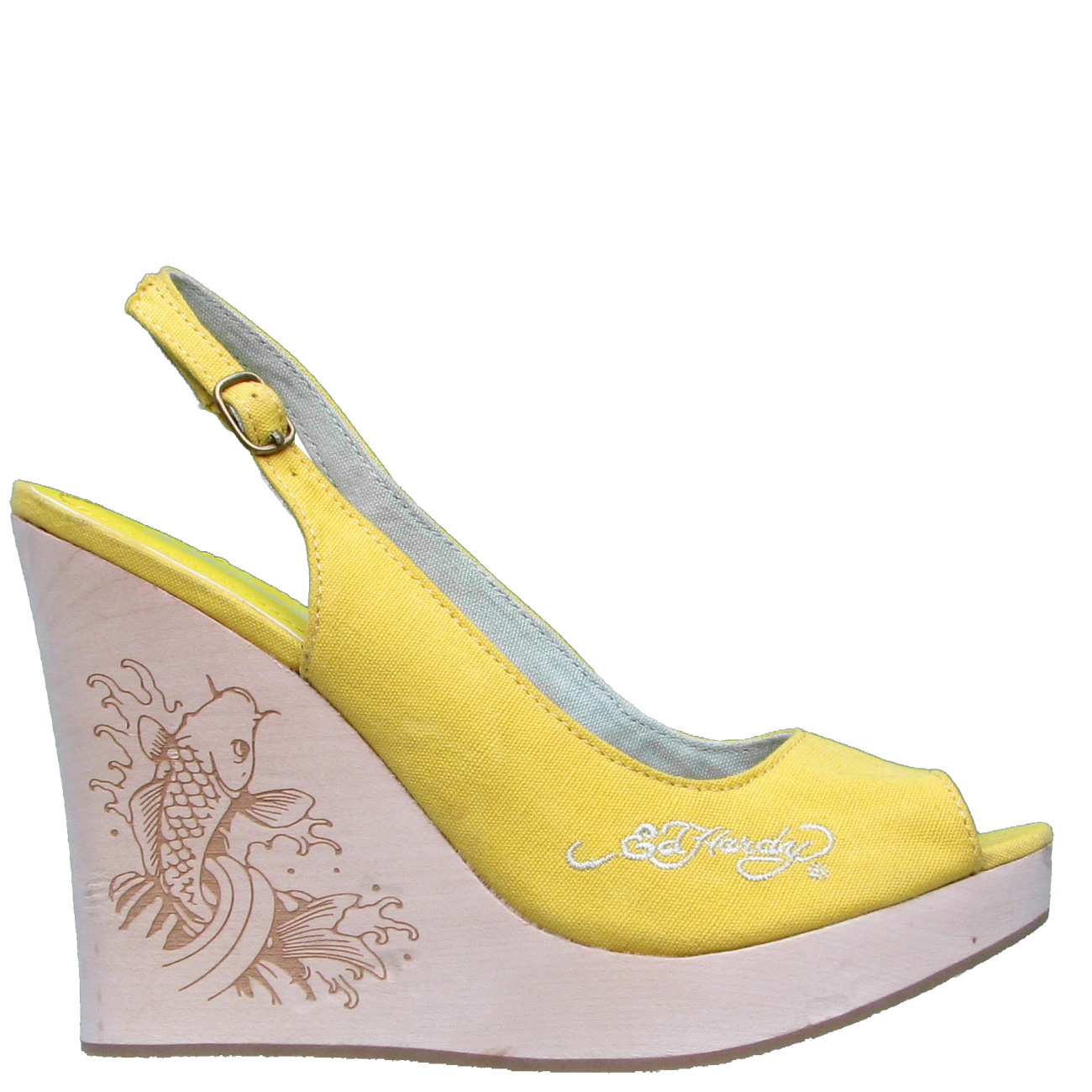 Ed Hardy Chantel Slingback Womens Wedge Shoe - Yellow