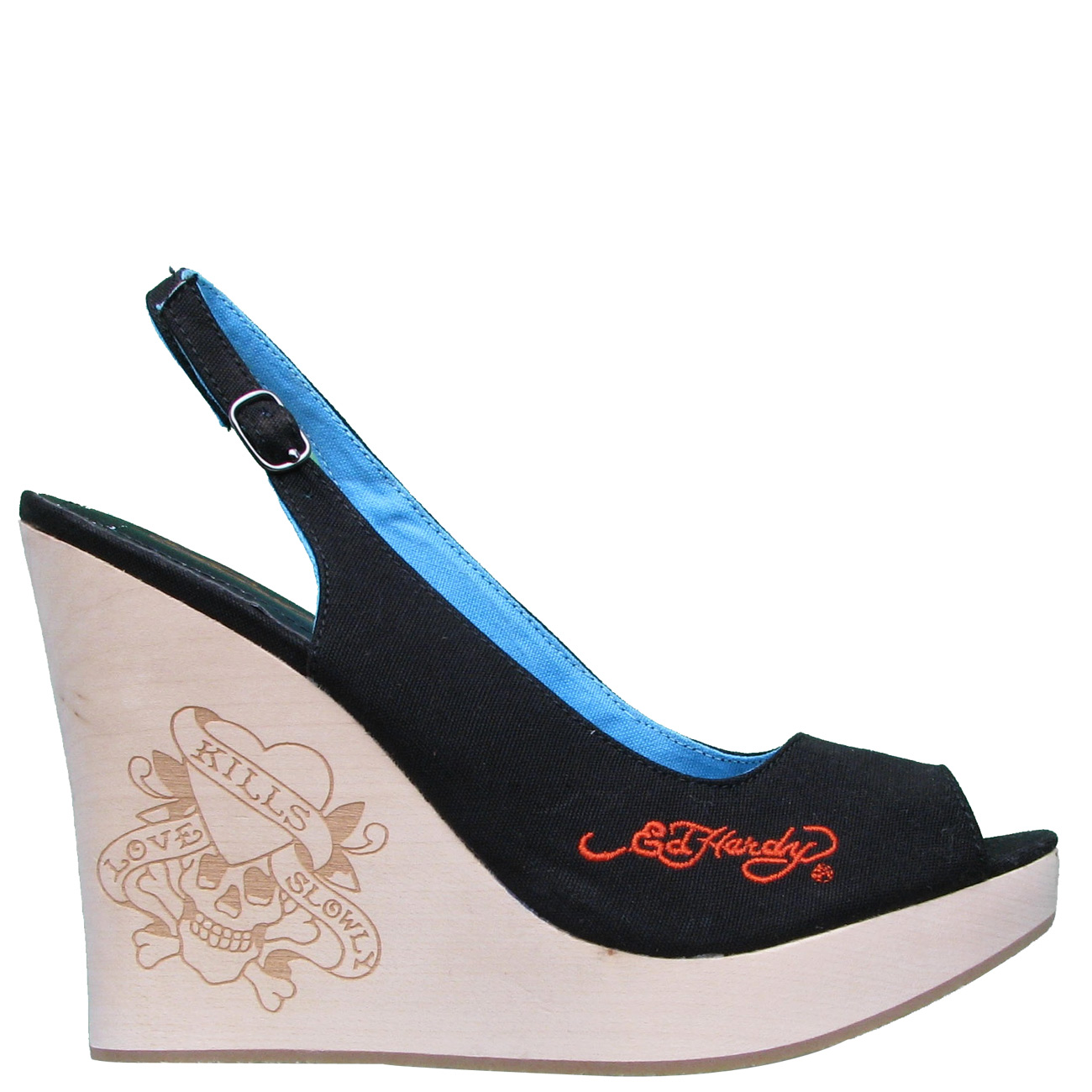 Ed Hardy Chantel Slingback Womens Wedge Shoe - Black