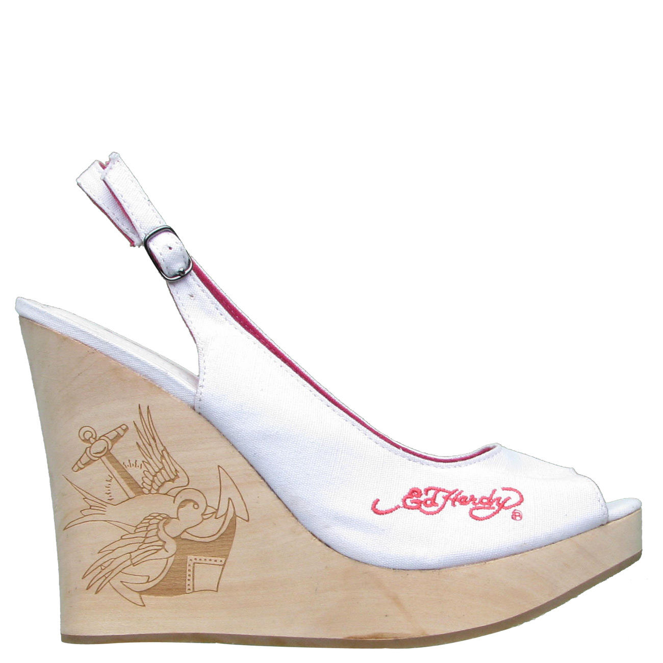 Ed Hardy Chantel Slingback Womens Wedge Shoe - White