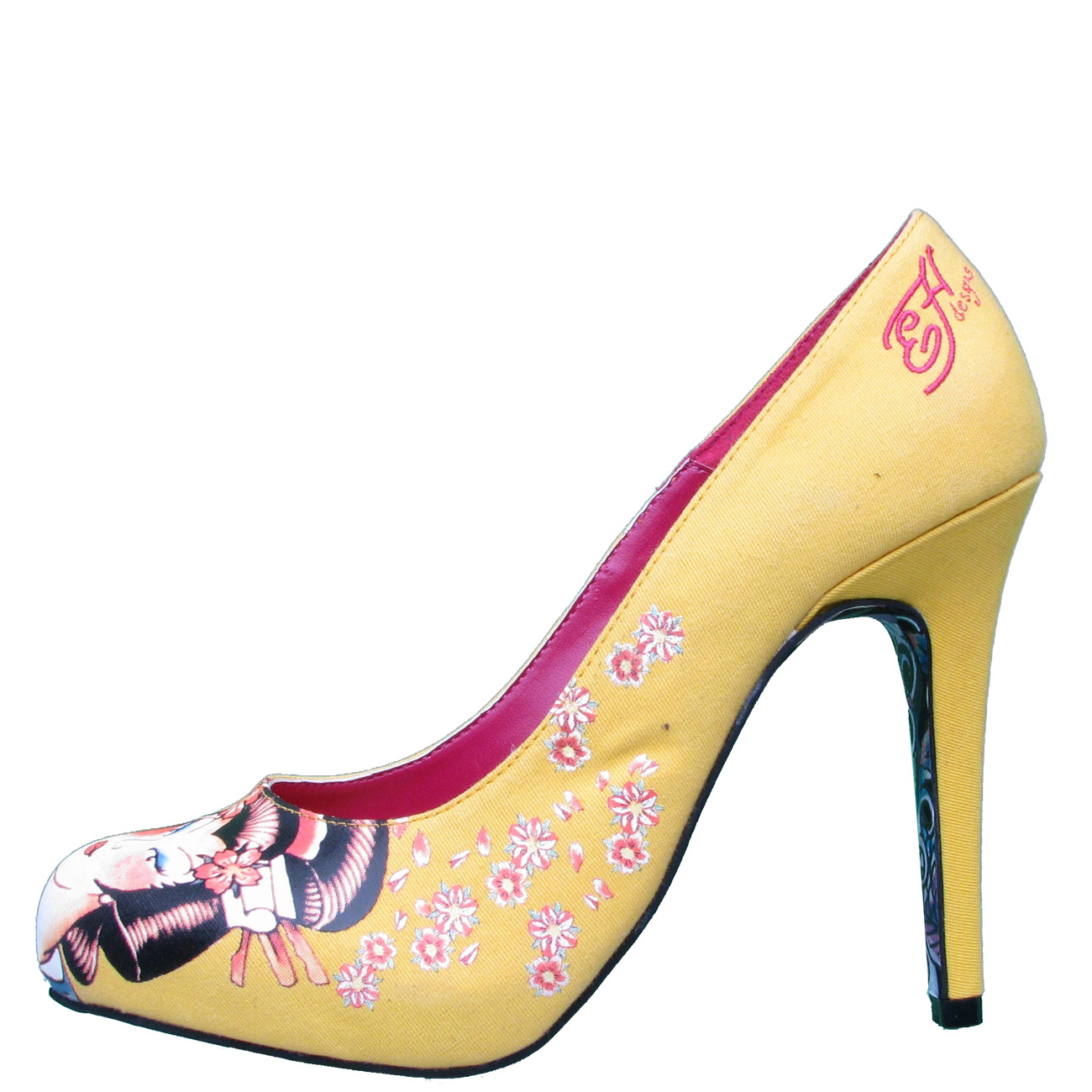 Ed Hardy Haute Geisha Pump Shoe for Women - Yellow