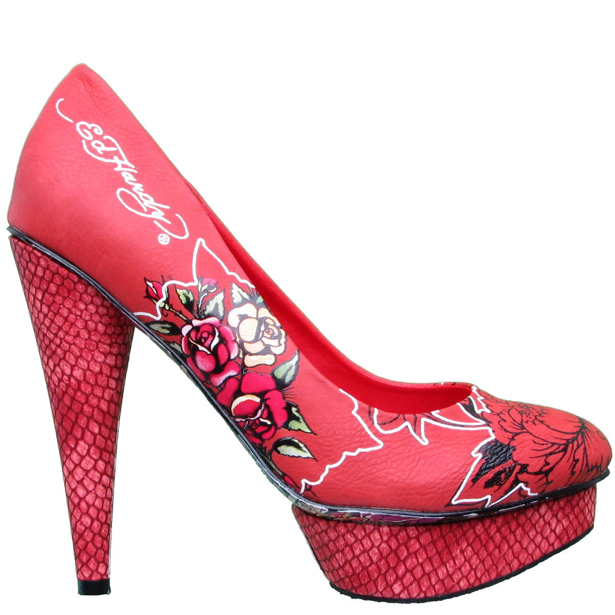 Ed Hardy La Mer Floral Platform Pump Shoe for Women - Red