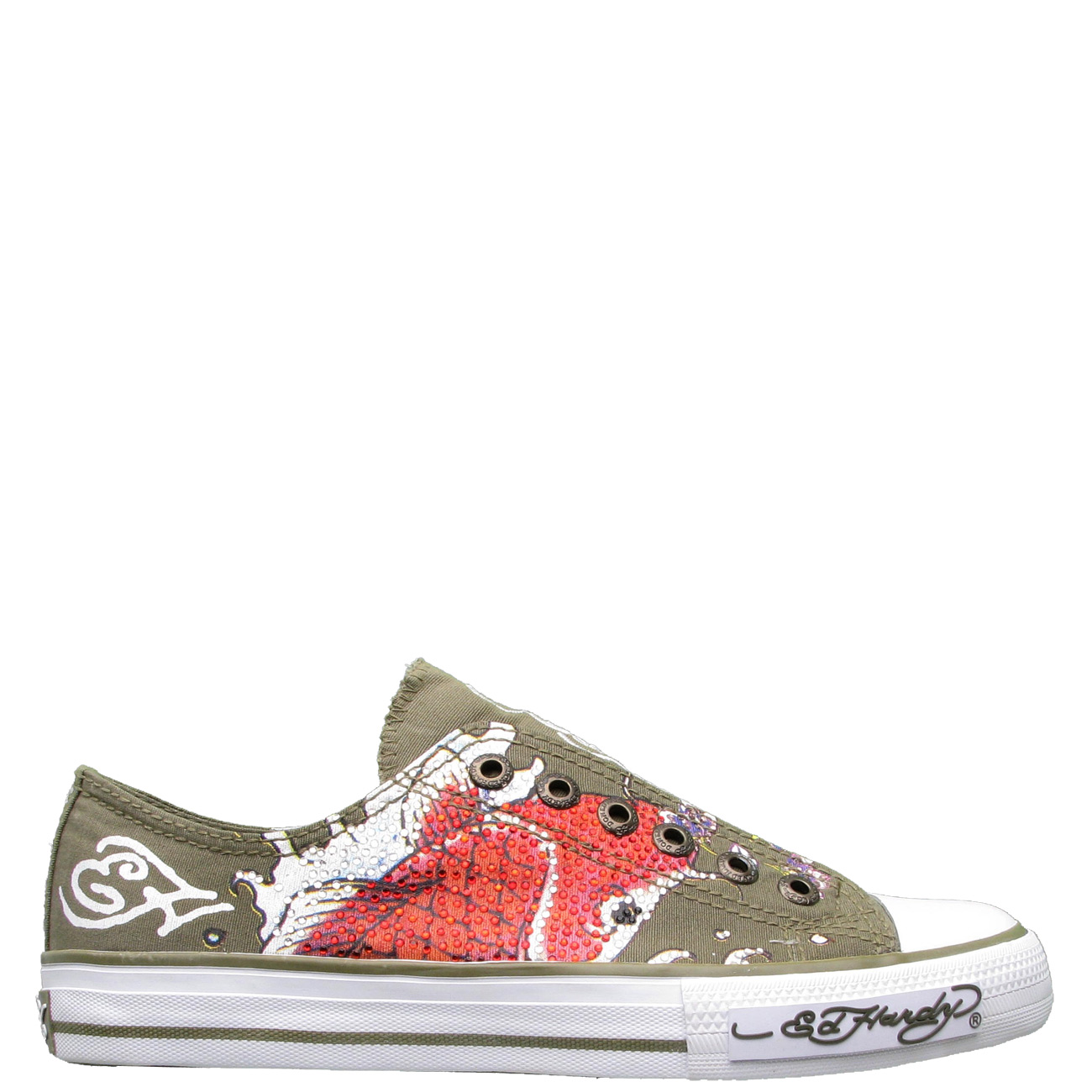 Ed Hardy LR Shimmer Koi Fish Sneaker for Women - Military