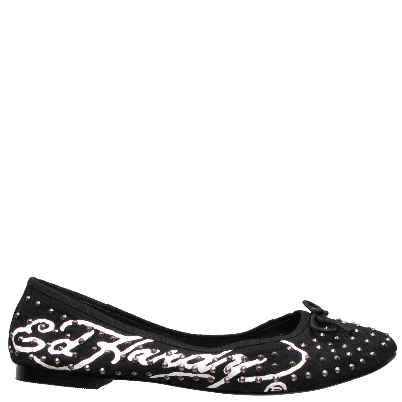 Ed Hardy Oui Oui Studded Ballet Flat Shoe for Women - Black