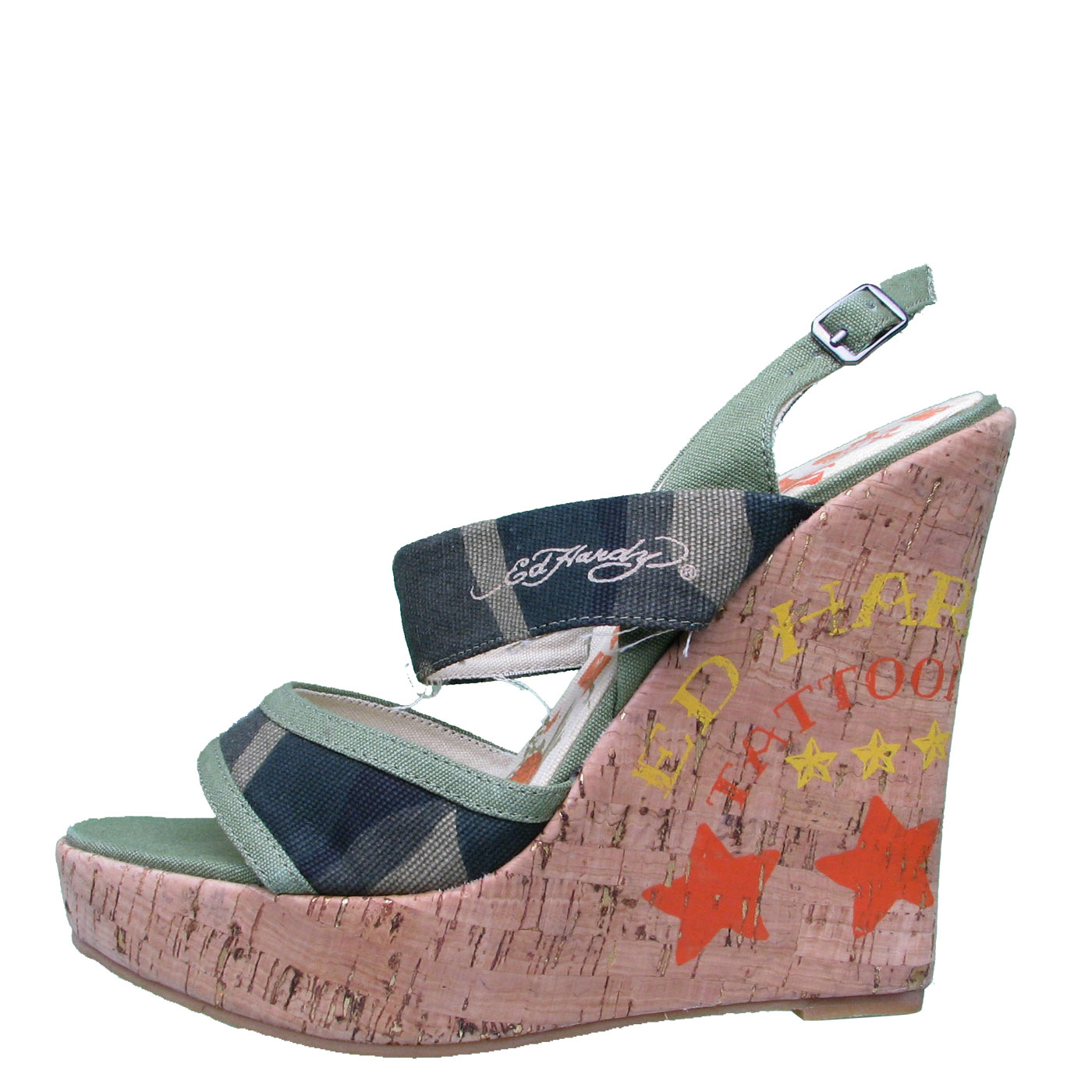 Ed Hardy Private Womens Wedge Shoe - Camo