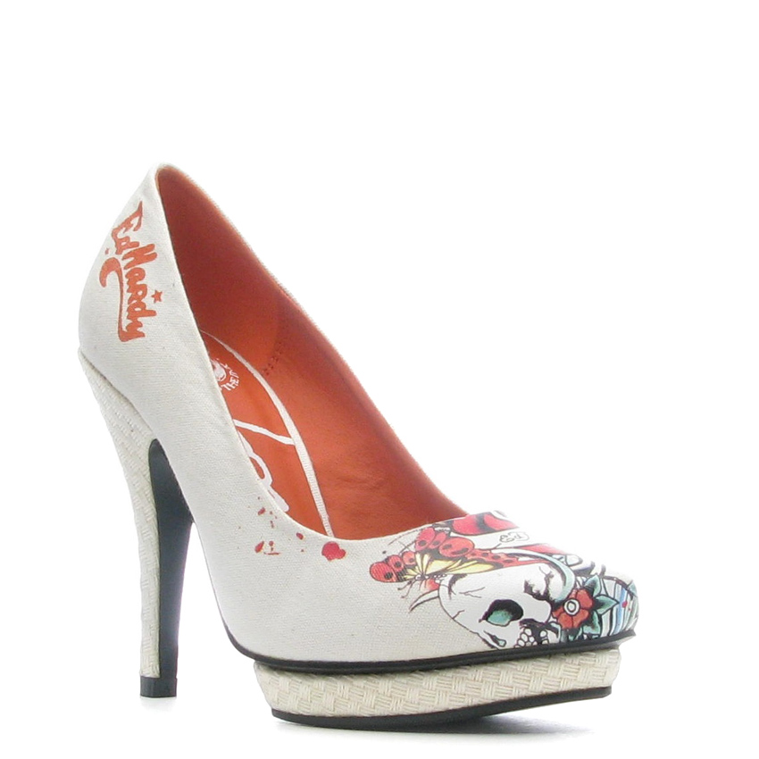 Ed Hardy Dirty Gold Pump Shoe for Women - White