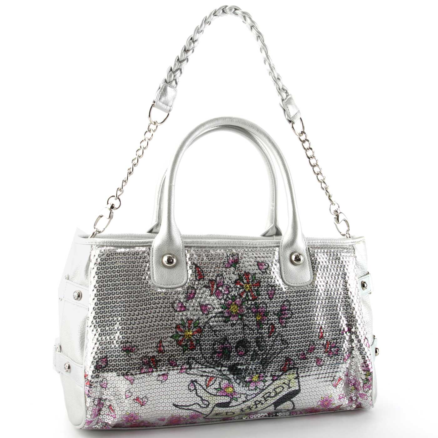 Ed Hardy Treasure Chest Alice Satchel Bag - Silver