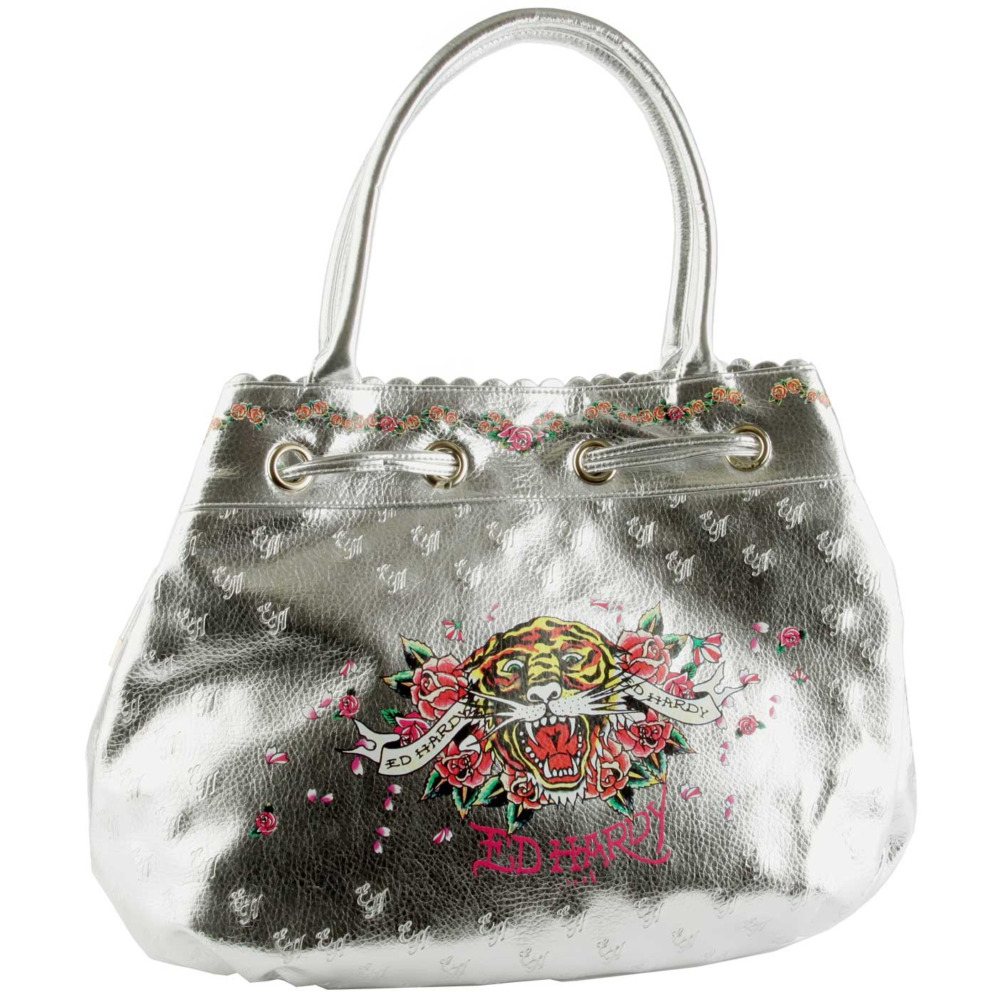 Ed Hardy Open Mouth Tiger Harriet Tote - Silver