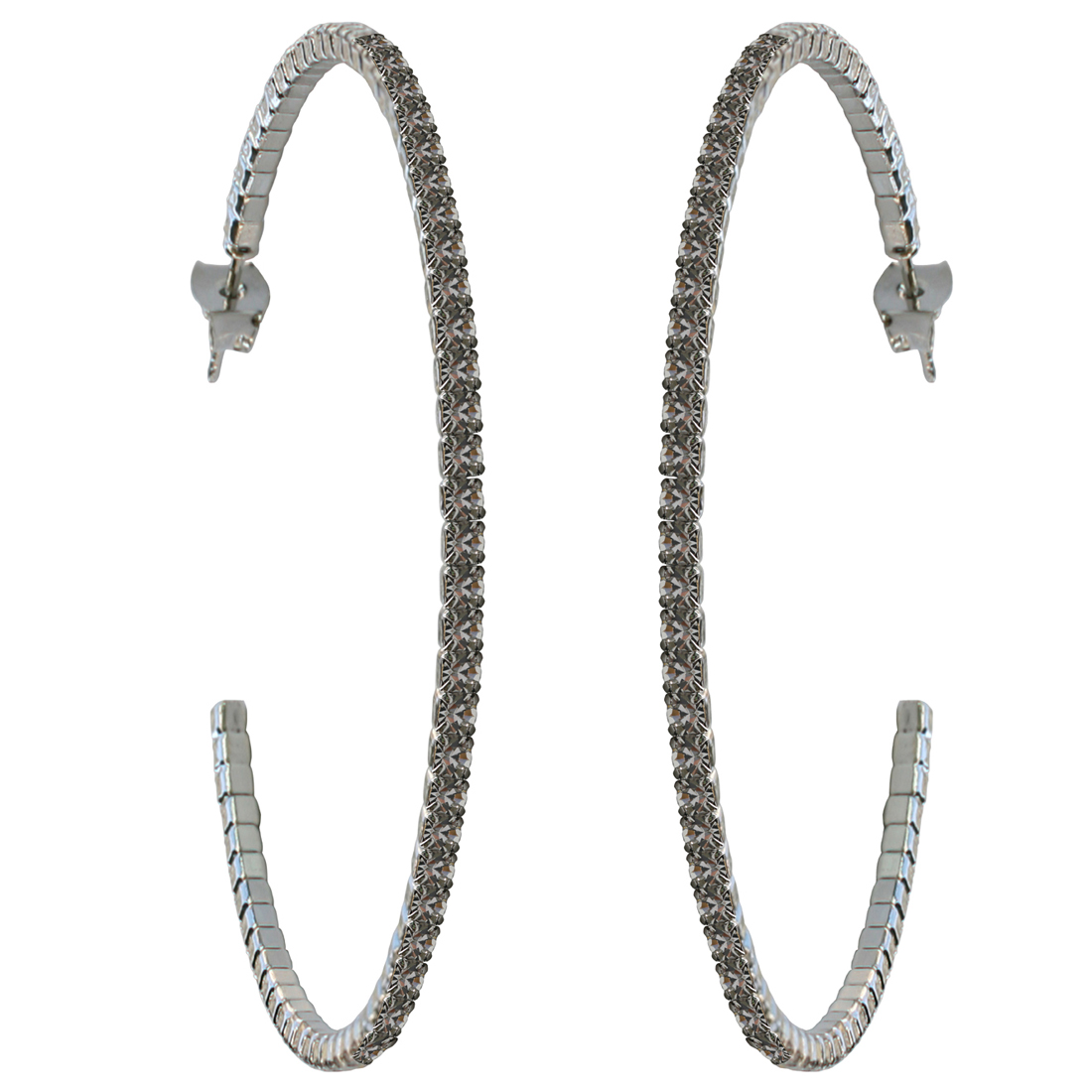 50mm Crystal Hoop Earrings - Silver