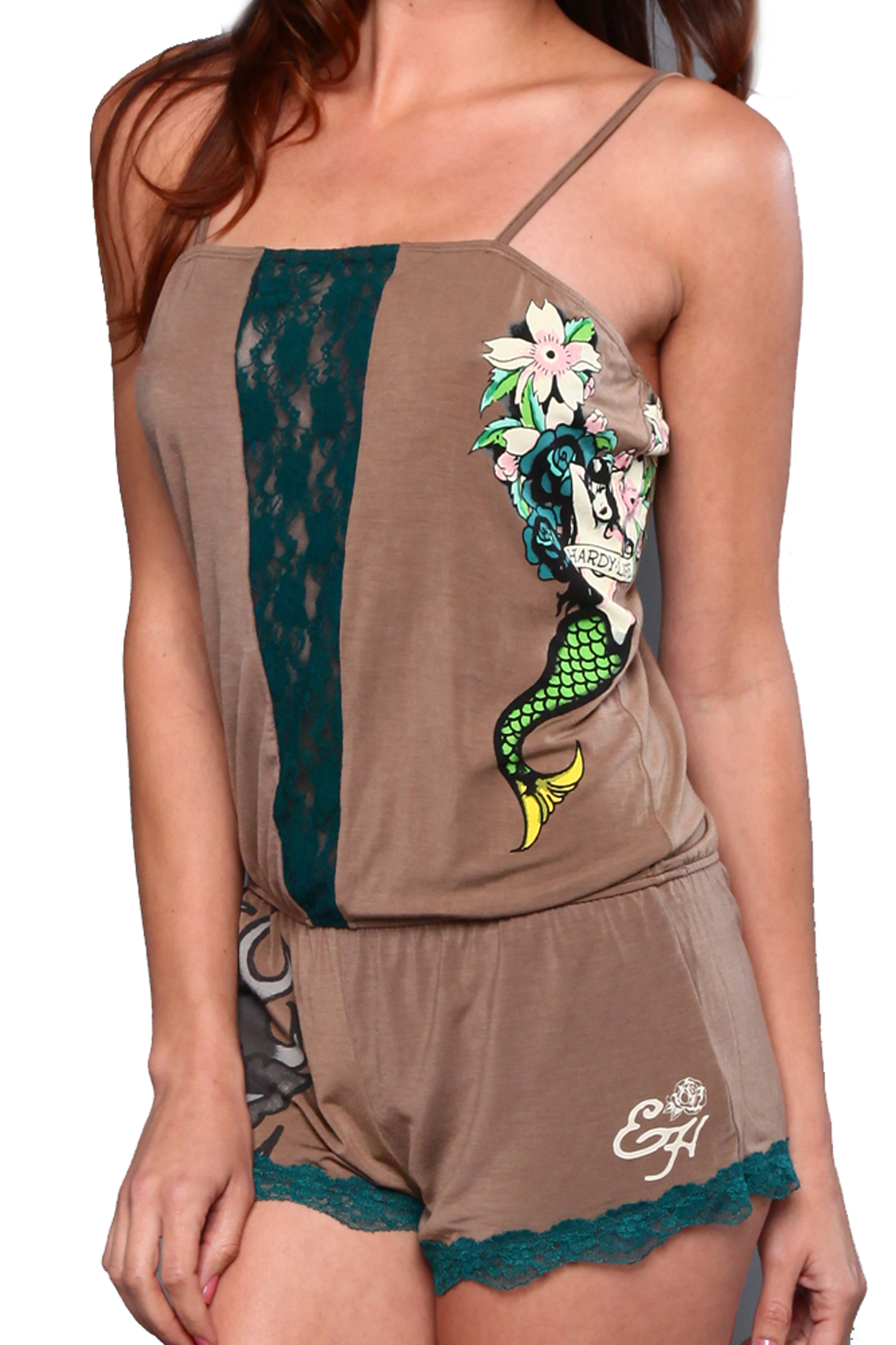 Ed Hardy Womens Mermaid sleep Romper- Pine