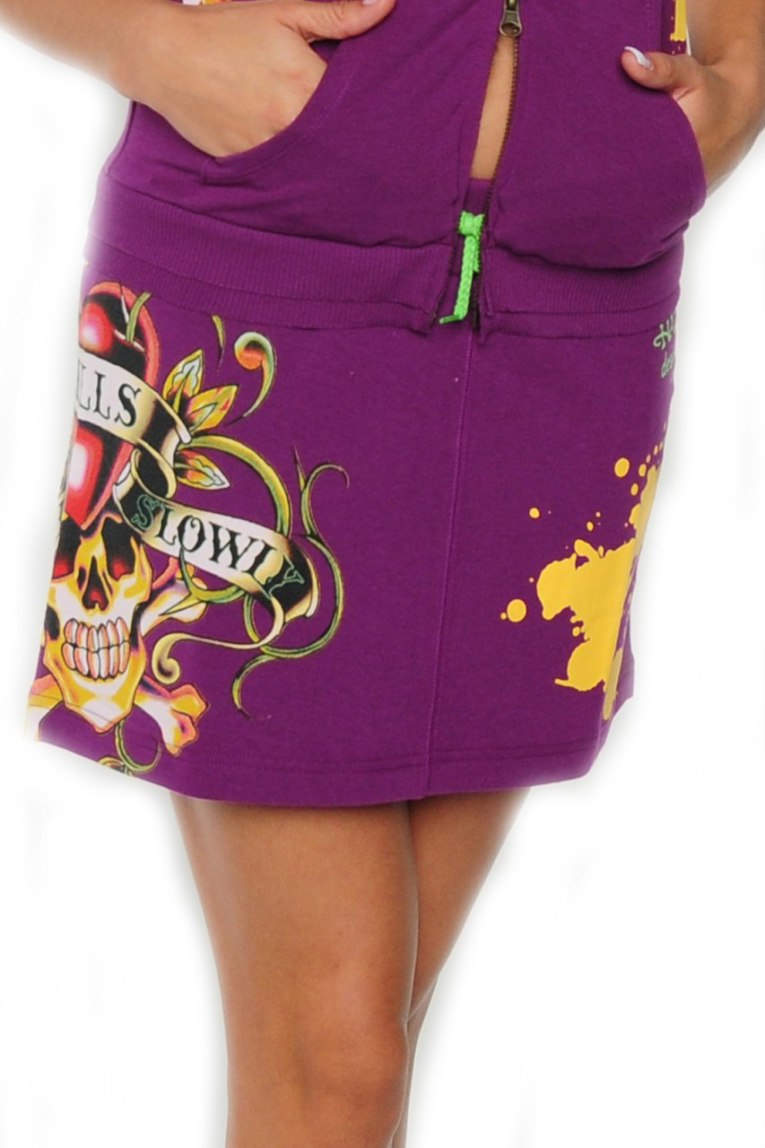 Ed Hardy Womens French Terry Mini Skirt Love Kills - Purple