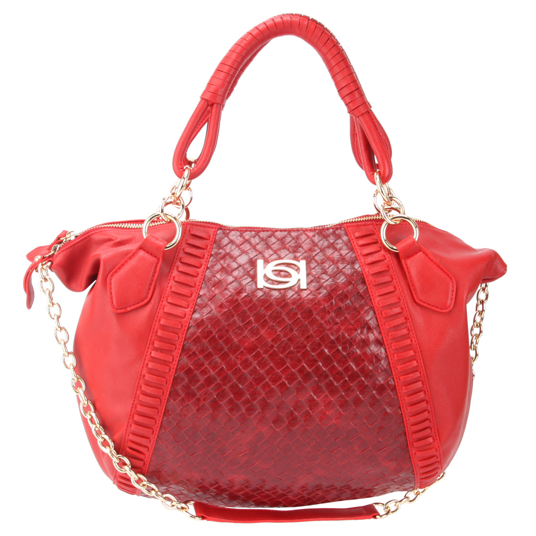 Bebe Woven Grace Satchel -Red