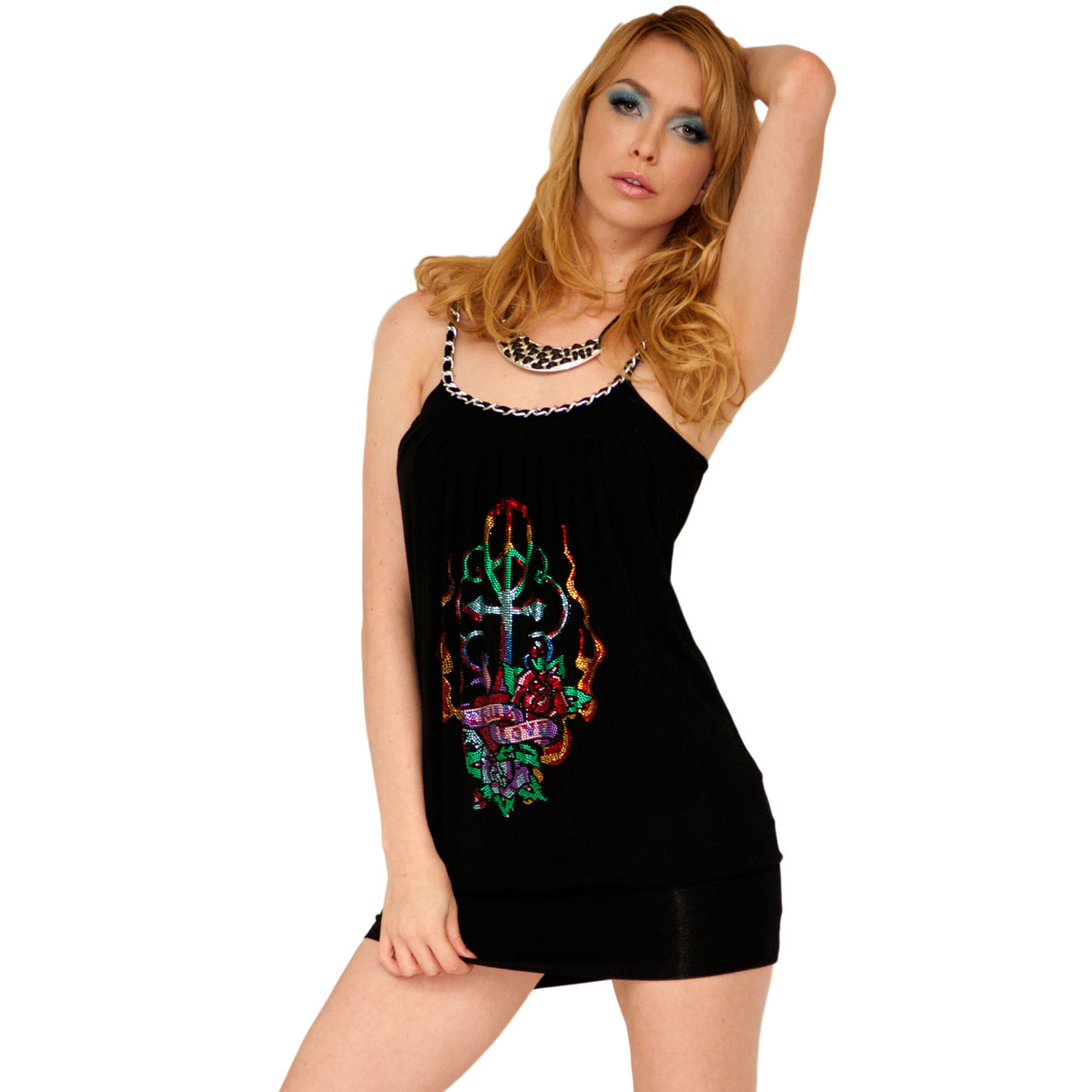 Ed Hardy Womens Black Flower Fire Dress