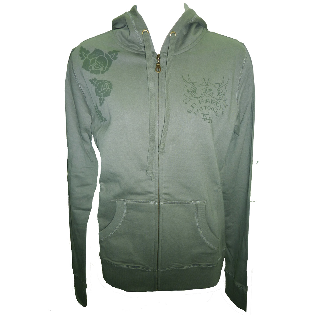 Ed Hardy Womens Red Rose Basic Hoodie - Olive