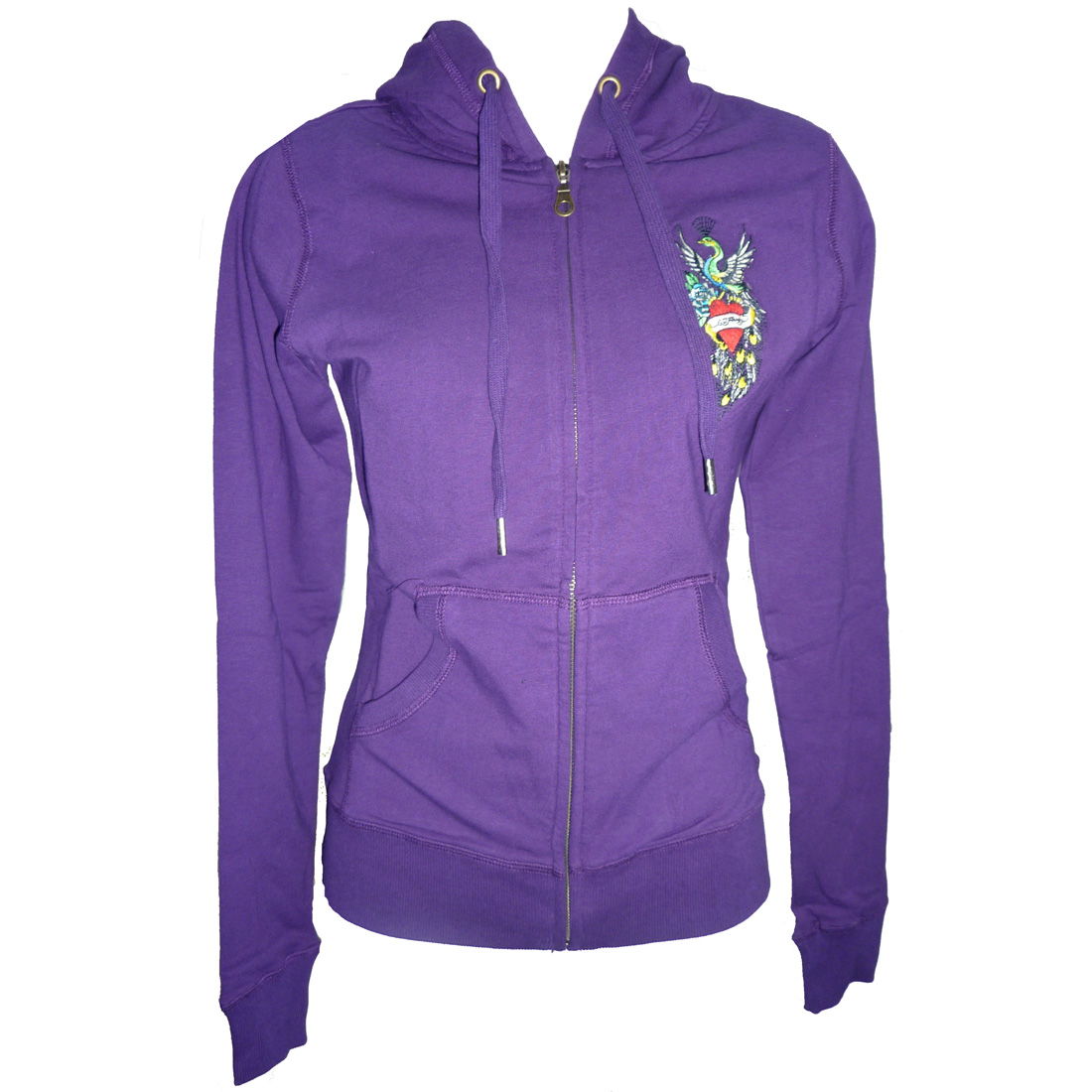 Ed Hardy Womens Peacock Core Basic Hoodie - Purple