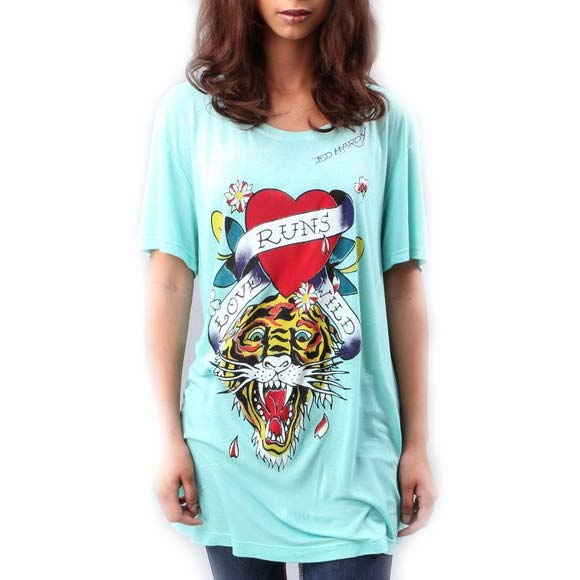 Ed Hardy Womens Love Runs Wild SS Scoop Neck T-Shirt- Sea Foam