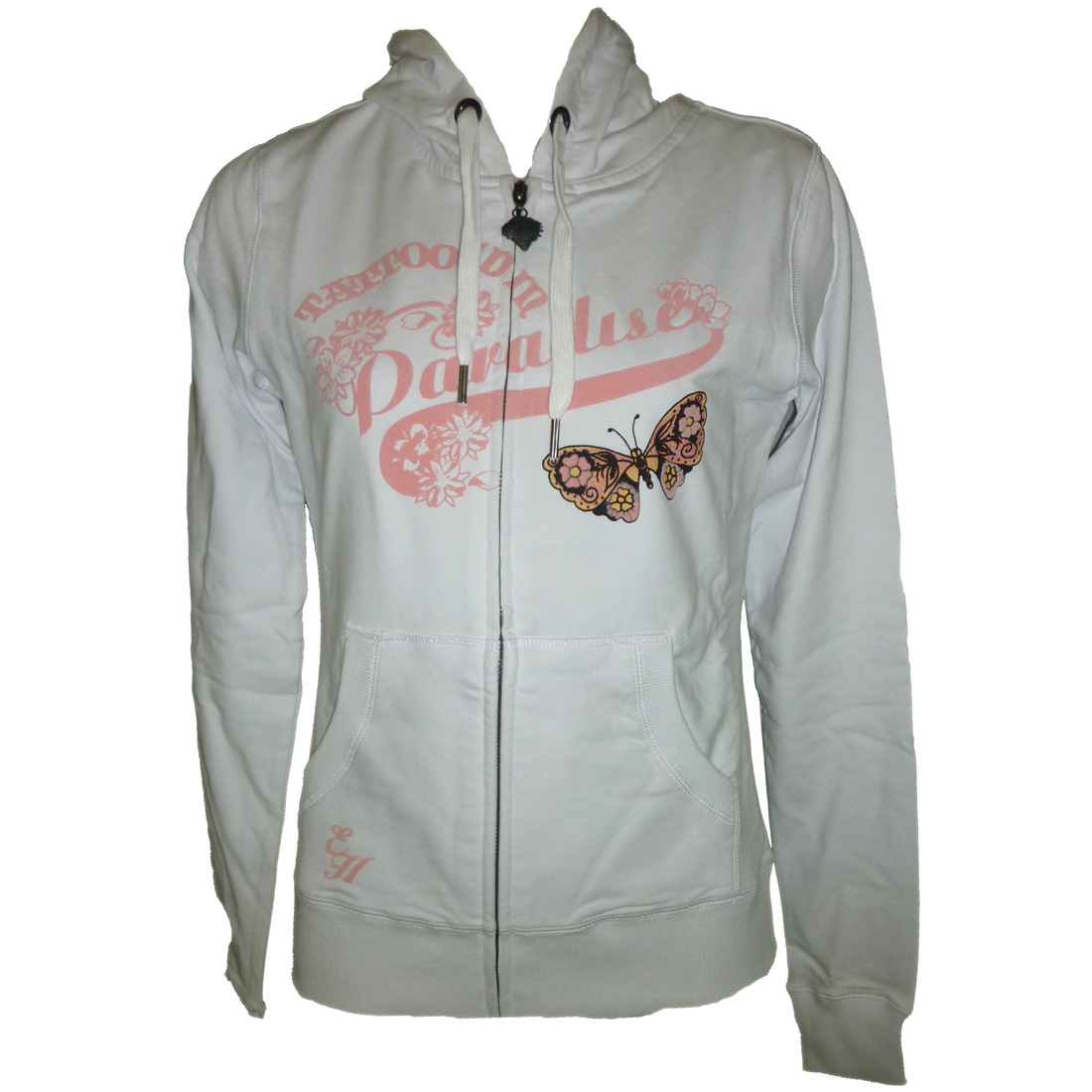 Ed Hardy Womens Specialty Floral Butterlfly Hoodie - White