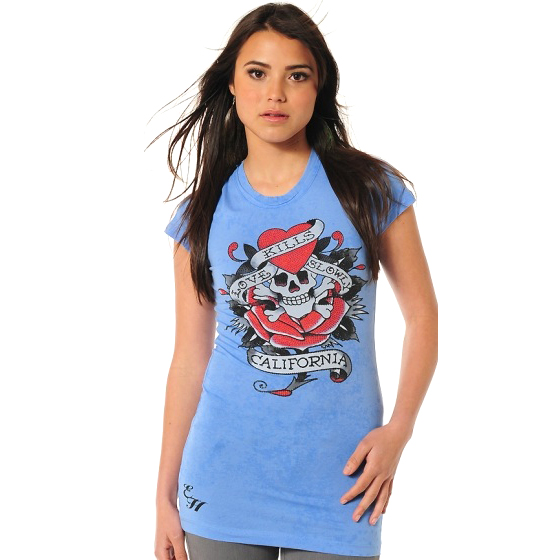 Ed Hardy Womens Love Kills Slowly Platinum Crew Neck T Shirt