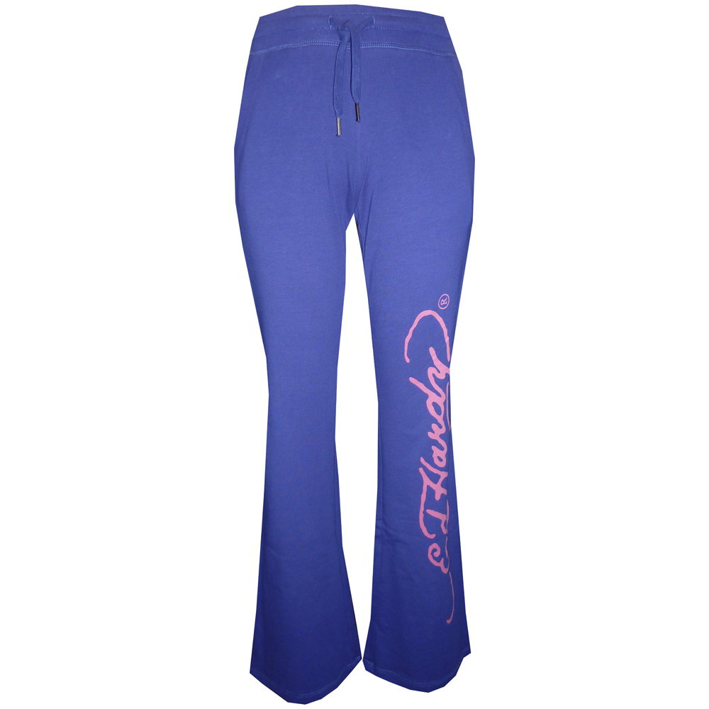 Ed Hardy Womens Core Basic Drawstring Pants - Blue Ink