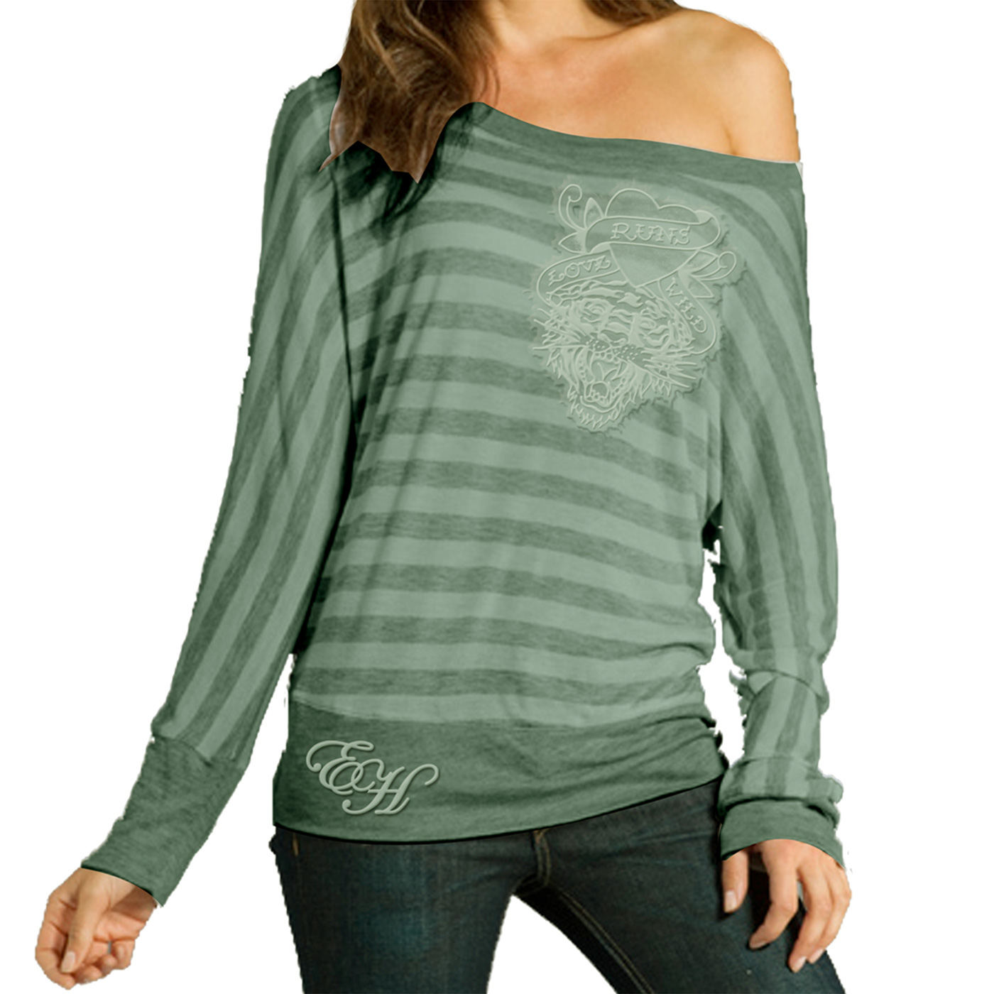 Ed Hardy Womens Basic Off Shoulder T-Shirt-Heather Spearmint