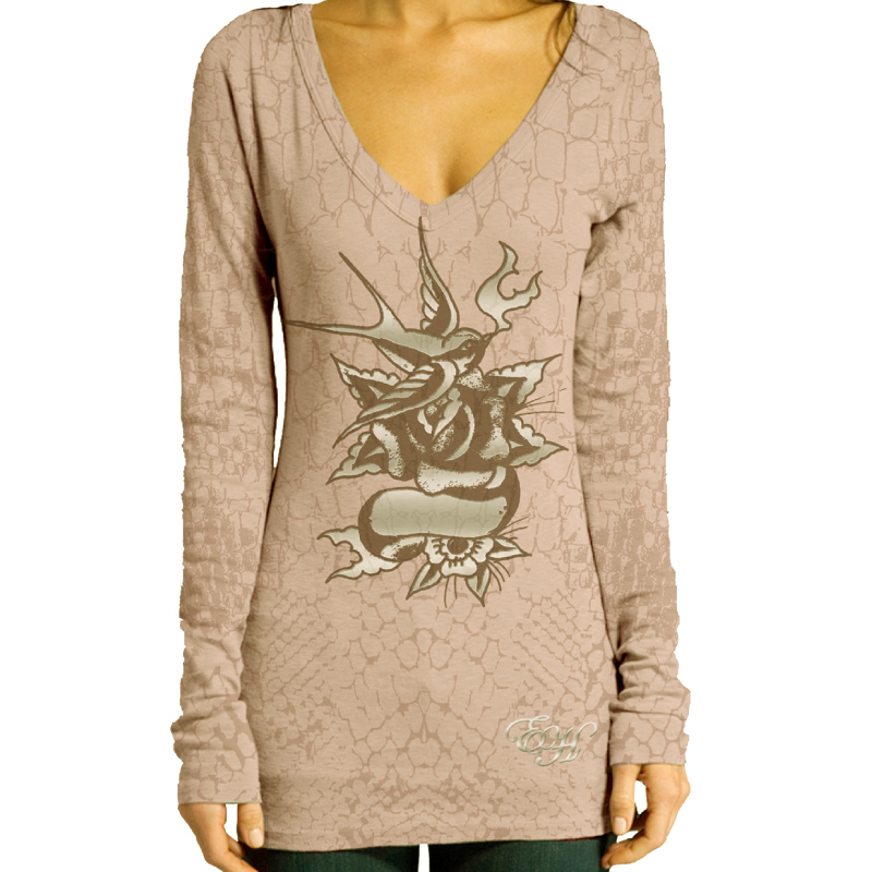 Ed Hardy Womens Specialty Long Sleeve V-Neck T-Shirt-Bubble Gum
