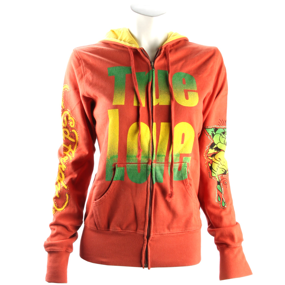 Ed Hardy Womens Gradient True Love Hoodie - Red