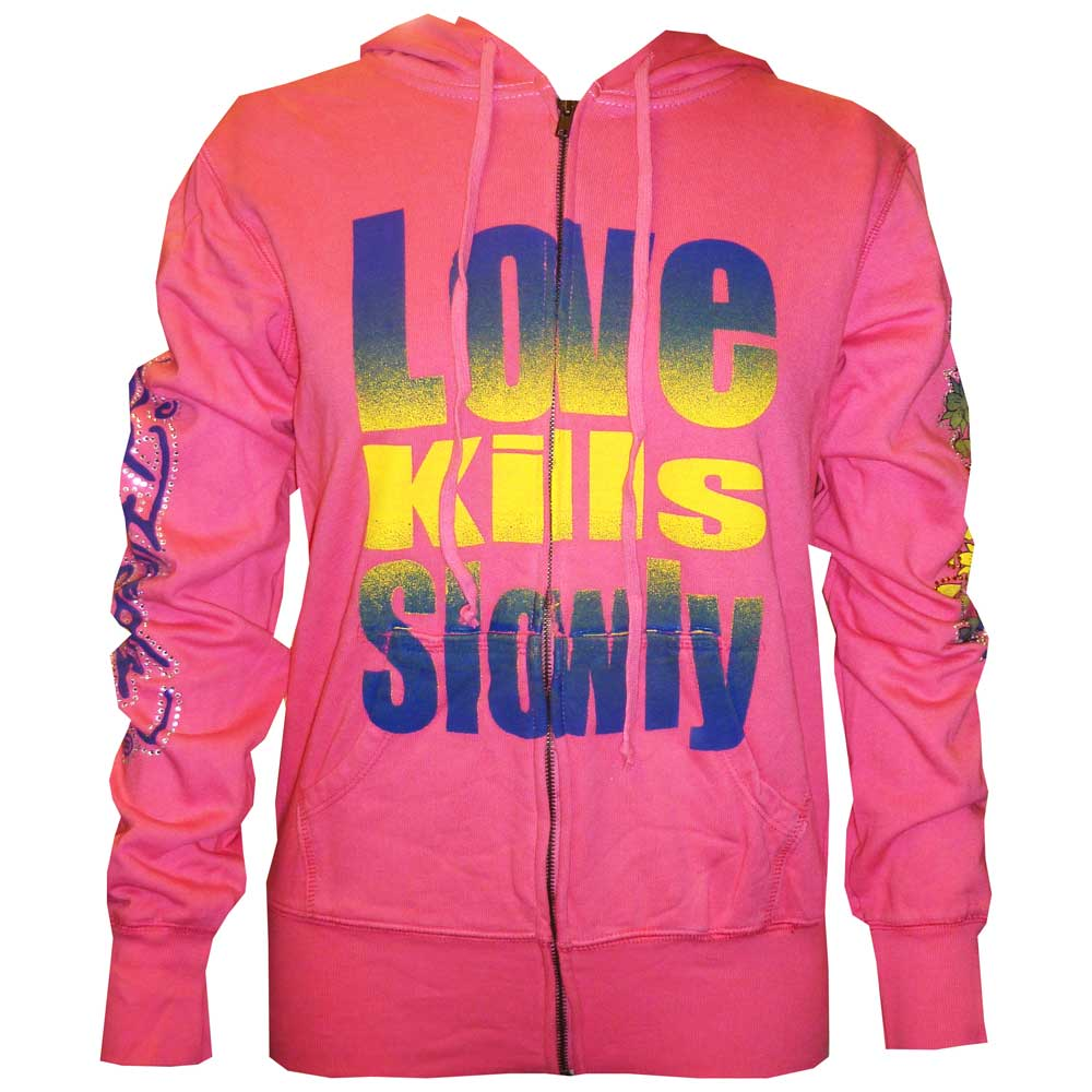 Ed Hardy Womens Gradient Love Kills Slowly Hoodie - Fuchsia