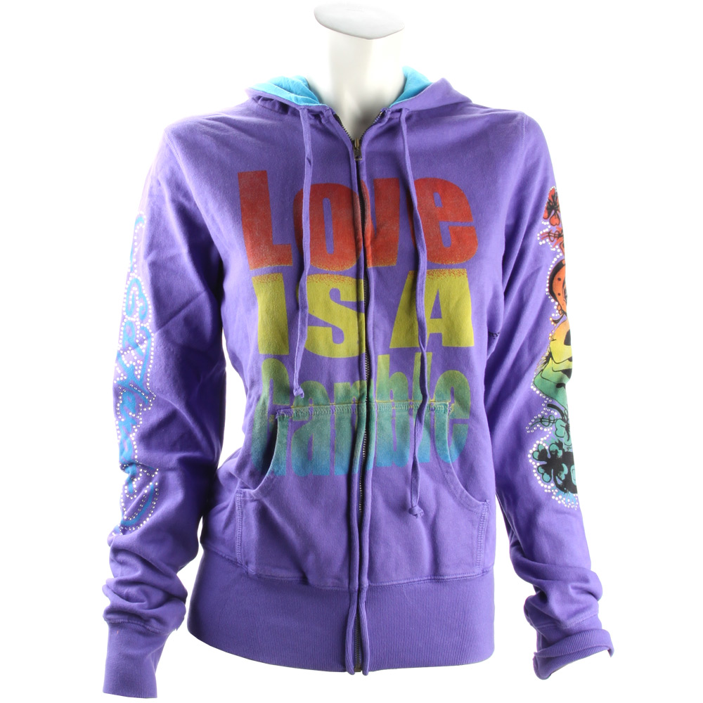 Ed Hardy Womens Gradient Love is A Gamble Hoodie - Purple
