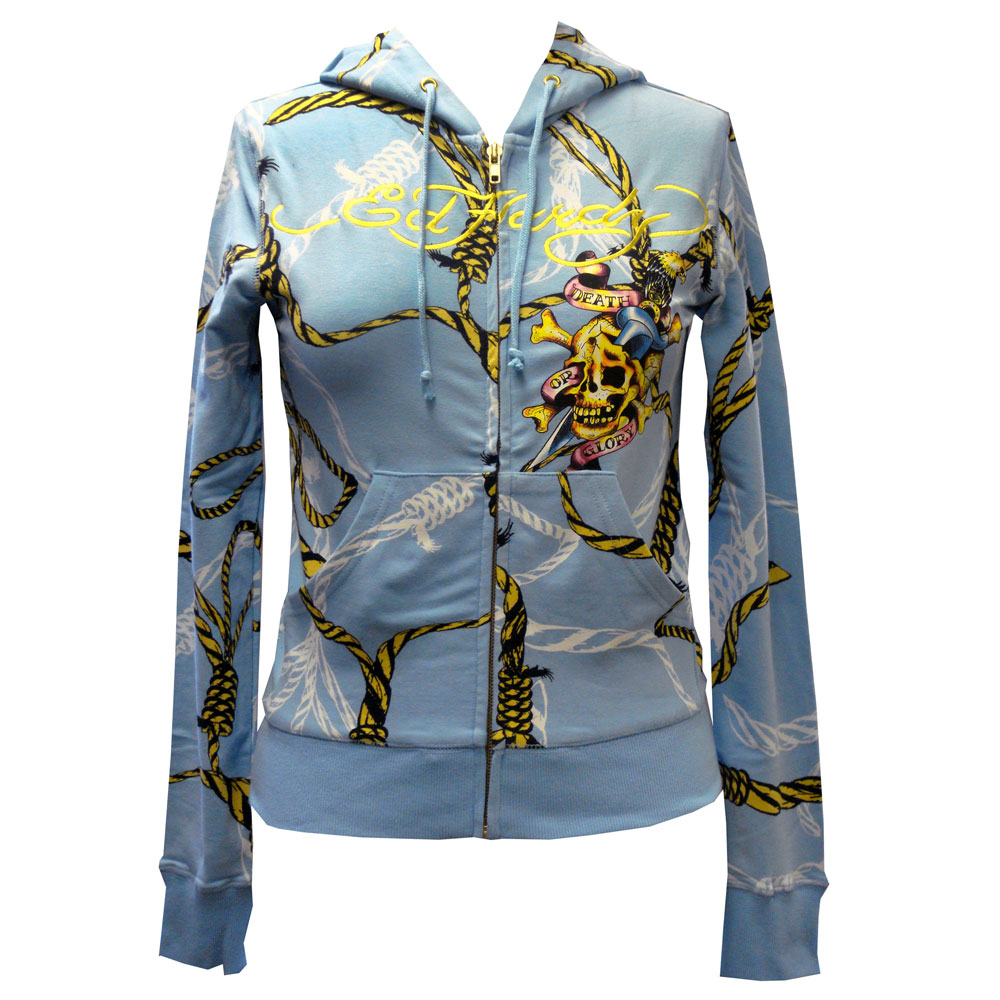 Ed Hardy Womens Death Or Glory Hoodie - Blue