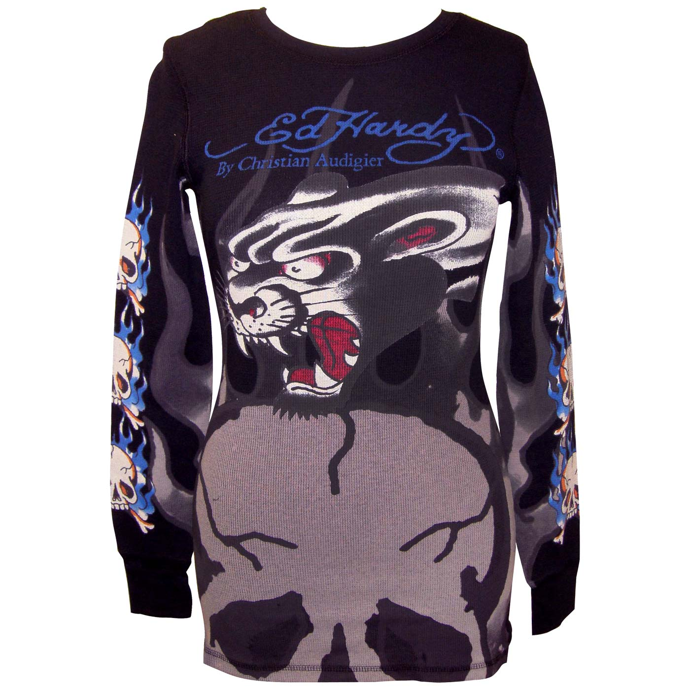 Ed Hardy Womens Flaming Skull Long Sleeve Thermal Shirt-Black