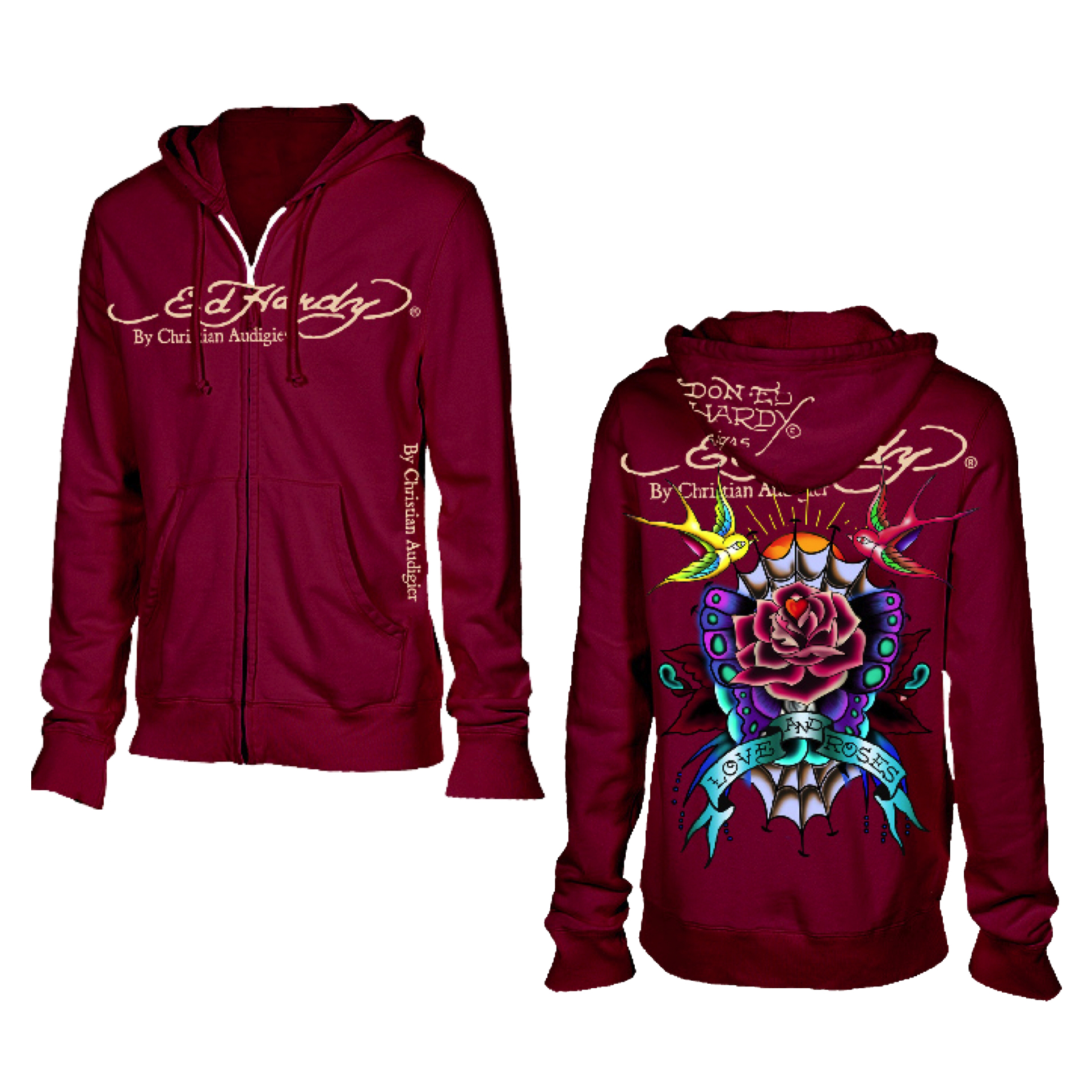 Ed Hardy Womens Basic Love and Roses Hoodie - Burg
