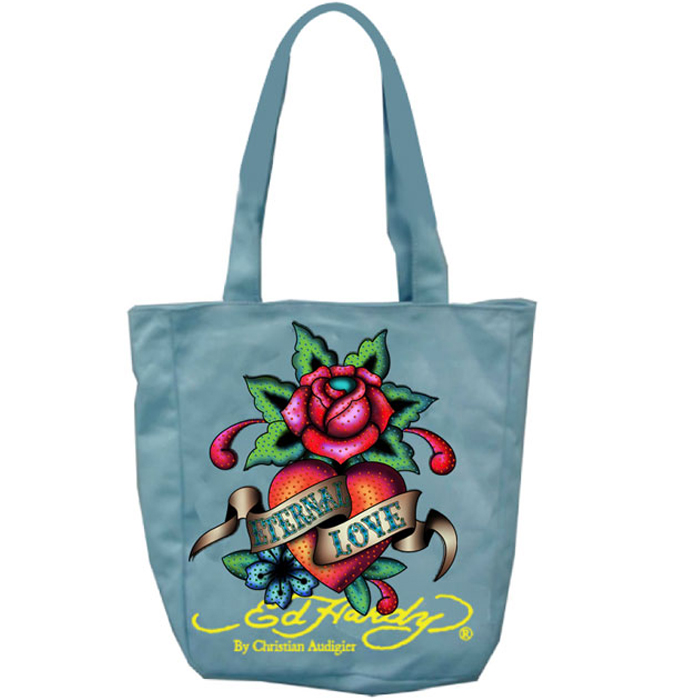 Ed Hardy Ness Eternal Love Kids Tote - Light Blue