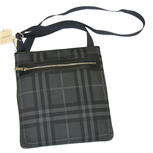 Burberry BM24 Turin Plaid Messenger Bag - Dark Gra