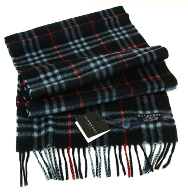 Burberry Cashmere Blue/Red Check Scarf