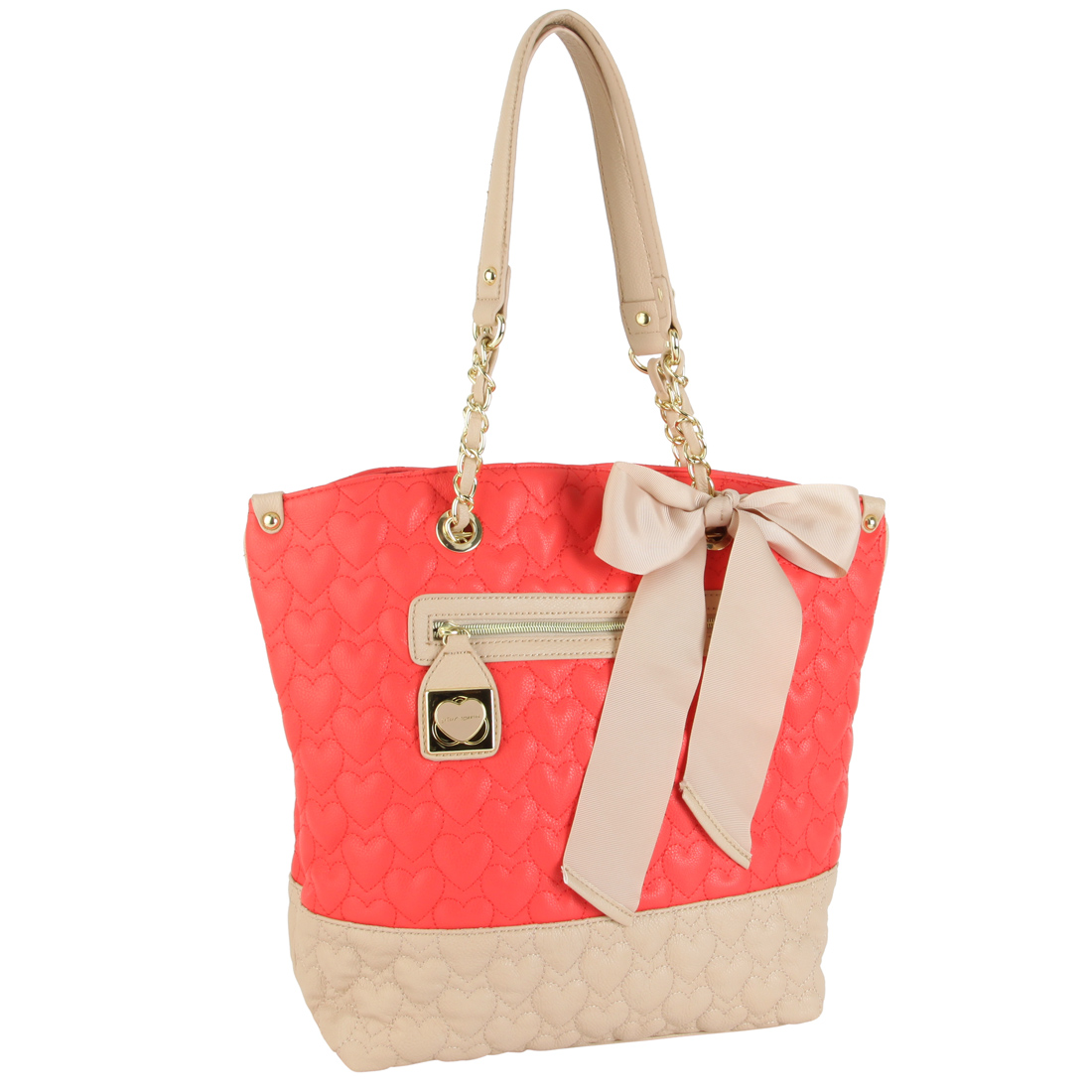 Betsey Johnson Quilted Be My One And Only Tote- Guava Multi