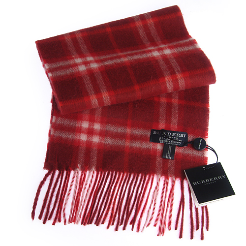Burberry Cashmere Red Check Plaid Mini Scarf