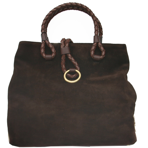Burberry Suede Onslow Medium Tote - Brown