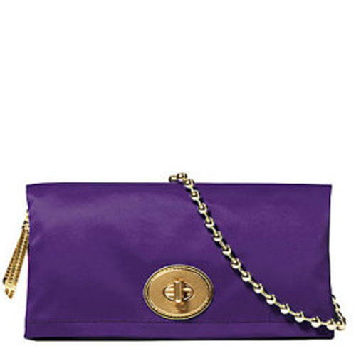 Coach 12926 Amanda Satin Foldover Clutch - Purple