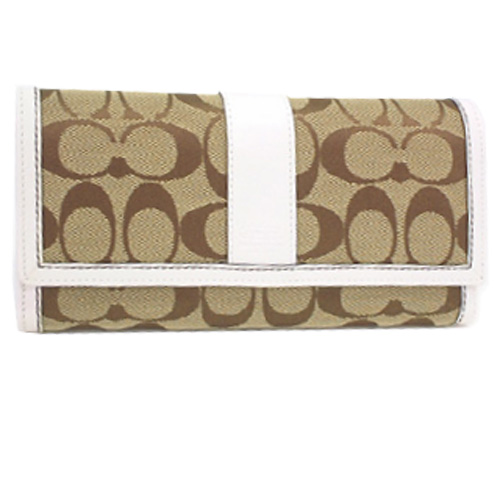 Coach 6K13 Hamptons Signature Checkbook Wallet - Khaki/White