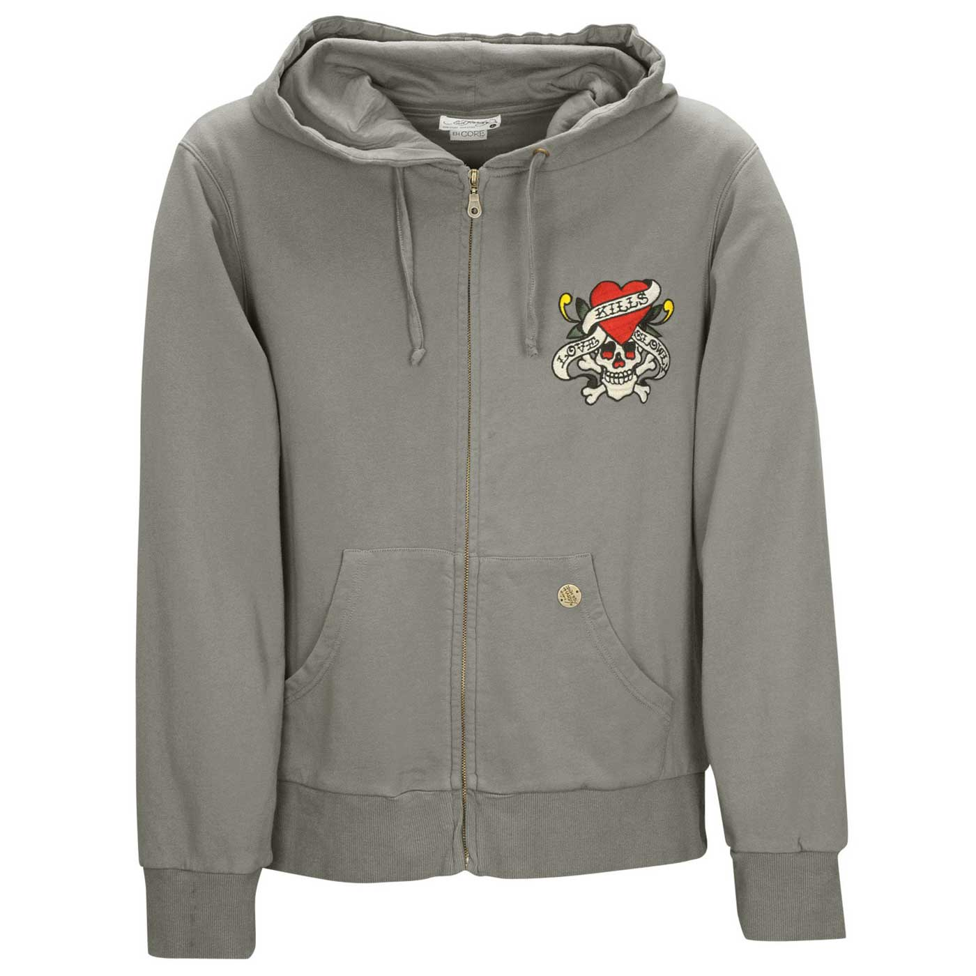 Ed Hardy Womens Love Kills Slowly Basic Hoodie - Grey