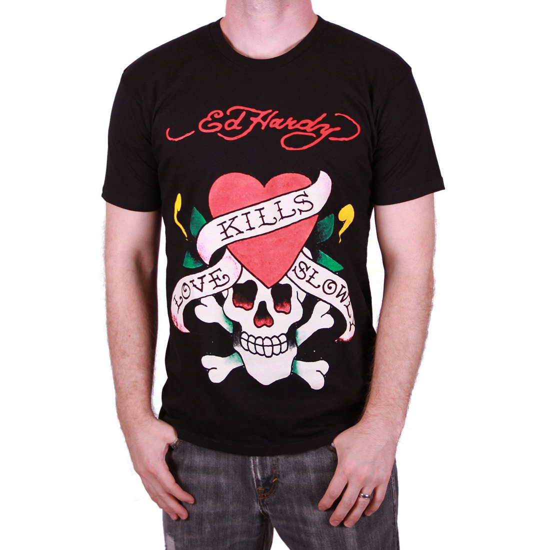 Ed Hardy Mens Love Kills Slowly Graphic Tee Shirt - Black