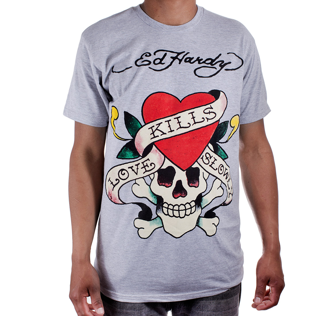 Ed Hardy Mens Love Kills Slowly Graphic Tee Shirt - Grey