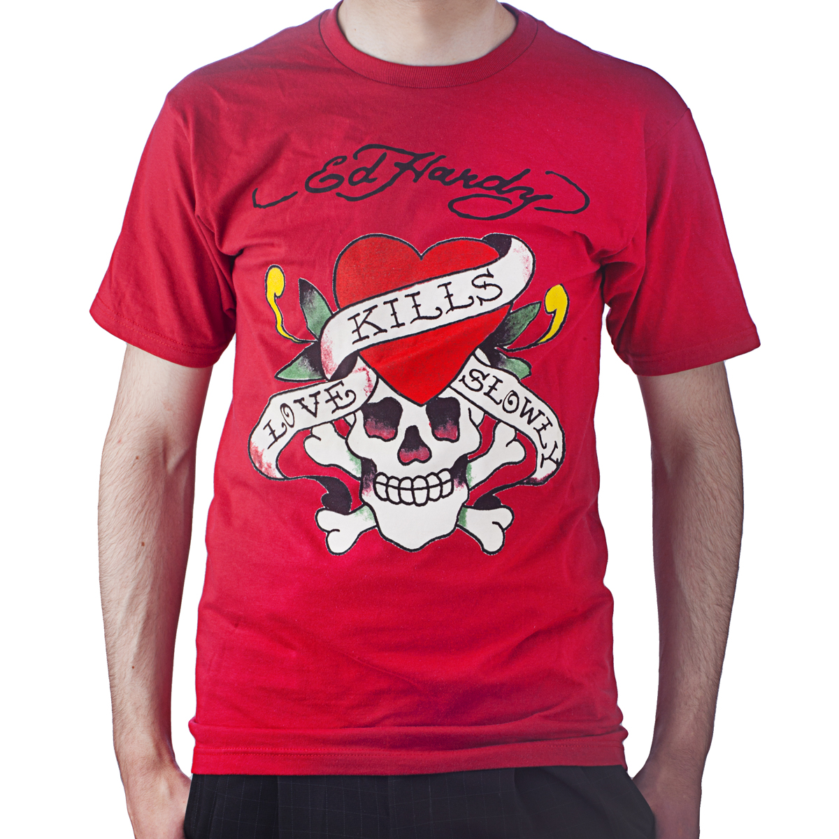 Ed Hardy Mens Love Kills Slowly Graphic Tee Shirt - Red